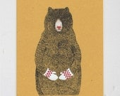 Bears Love warm mittens - Bear Illustration - A4 gocco screen print - red and white art print - on yellow mustard recycled paper