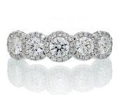 Platinum Diamond Five Stone Anniversary Wedding Band Ring