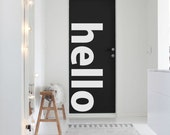 HELLO word minimal vinyl wall decal for your personal nursery, bed room and living room decoration (ID: 131028)
