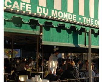 Cafe du Monde Photo - New Orleans Photography - French Quarter Art - Beignets Photo - New Orleans Decor -  Green Wall Art