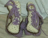 Baby roller derby roller skates, crochet baby shower gift, hi top roller skates, White with lavender wheels and laces
