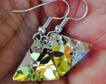 Triangle Earrings, Swarovski Earrings, Aurora Borealis, Geometric Jewelry, Sparkle Jewelry