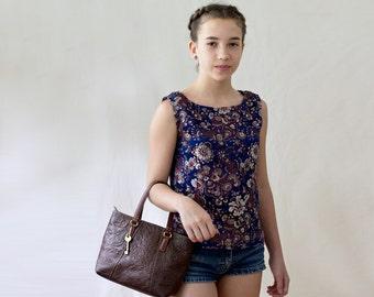 silk damask top, girl top, custom, teenager silk top, Chinese silk, custom design, made in Uzbekistan, silk shell, silk tank