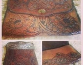 1970s Vintage Tooled Leather Envelope Clutch