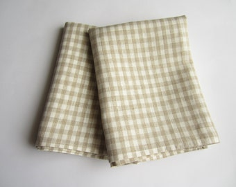 Checkered linen kitchen towel set of 2, kitchen dish cloth, dish tea towel, linen hand towel, dish towels, tea towel, hand towel