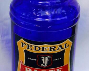 GIANT cobalt BLUE Federal Ink master or bulk bottle SEATTLE Washington antique = 1 Century Old = quart size