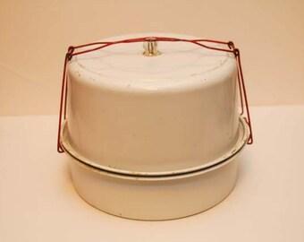 Vintage Metal Cake Plate and Carrier, Metal Cake Plate, Shabby Chic Cake Plate, Metal Cake Stand