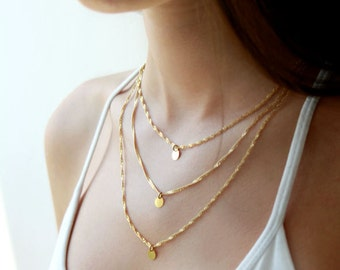 Multi layered gold chain necklace / trio gold layered necklace / layering jewelry / birthday gift