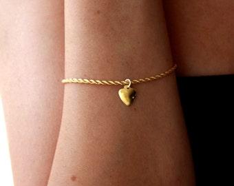Delicate bracelet, 14k gold filled, heart barcelet, gold heart bracelet, thin gold bracelet, dainty gold bracelet, delicate gold bracelet
