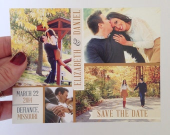 Printable Save the Date Postcard, Multiple Photo Save the Date Card