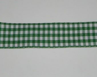 "Green Gingham Decorative Ribbon 1-1/8"" Width Trim Wedding Bows Scrapbook 1 Yard"
