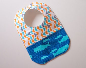 Designer Boy Baby to Toddler Bib - Whales Triangles - One of a Kind - Ready to Ship - Aqua, Orange, Blue - Stylish Modern