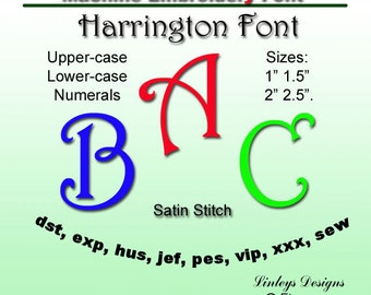 Download Machine Embroidery Alphabet: Harrington Font.