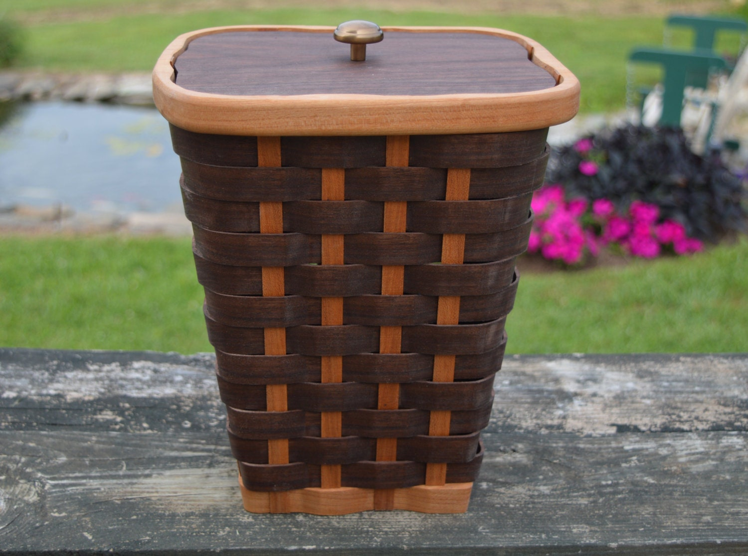 wooden toilet paper holder with lid walnut wood by. Black Bedroom Furniture Sets. Home Design Ideas