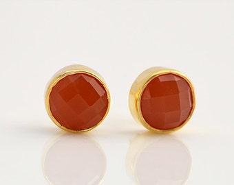 Round Carnelian stud earrings, carnelian Post Earrings, tiny studs, carnelian jewelry, orange gemstone studs , carnelian earrings for her
