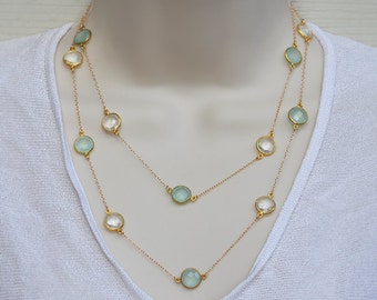 Aqua Chalcedony, Clear Quartz necklace, custom station necklace, long necklace, April Birthstone, bezel set necklace - March Birthstone
