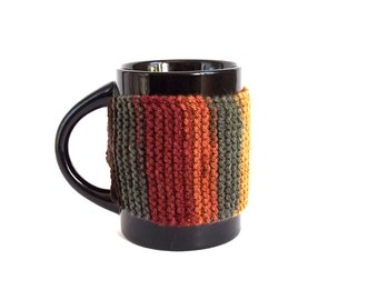 SALE - 50%OFF. Coffee Cup Cozy. Knitted Tea Cup Cozy. Hand Knit Brown Mug Cozy.