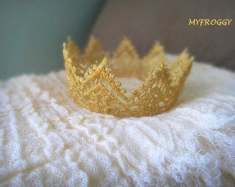 Baby Crown Gold Lace Crown Baby Photo Prop Newborn Golden Crown Baby Girl or Boy Crown  Regal Gold Vintage Wedding Cake Topper
