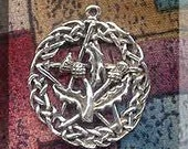 Sterling Silver Celtic Thistle Pentacle Necklace, Wiccan-Pagan Pentacle Scotland Jewelry, Hex Breaking Protection Hidden Pentacle, SE-0411