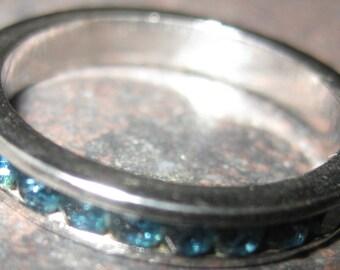 Silver Espo Ring Sleek Elegant Vintage Art Deco Sterling SILVER ESPO Sapphire Channel Set Eternity Band Ring Stackable Ring Sz 5.5