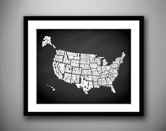Chalkboard USA - A Typographic Text Map of the States of the USA, Travel Quote Map, Chalkboard Background, Quote Map Print, Canvas USA Map