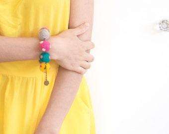 Cheerful Colorful Felted Bracelet, Playful beaded felt bracelet