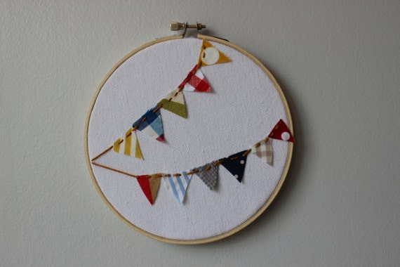 Cute Boho Mixed Pattern Bunting Embroidery Hoop Art