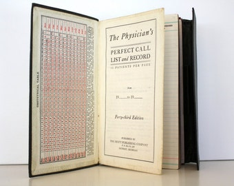 Antique 1928 The Physician's Perfect Call List and Record Book