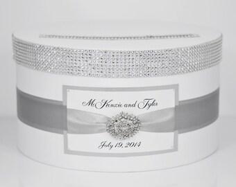 Wedding Card box / Card holder / Wedding money box - silver - personalized