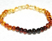 Adult Baltic amber bracelet rainbow color rounded beads 24b