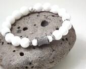 RESERVED for Kathy SALE Originally 55.00 Now 44.00 White bracelet boho bracelet CZ bead bracelet party bracelet white and gunmetal bridal