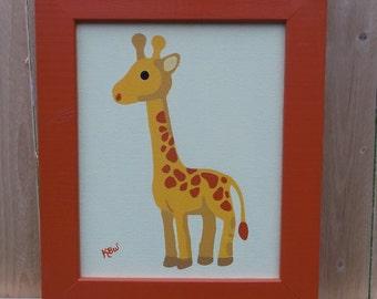 Children's Giraffe Art Hand Painted Canvas Wood Frame