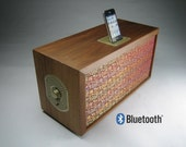 Bluetooth Wireless Speaker and Iphone4 / Ipod Dock - Vintage HiFi Speaker Repurposed