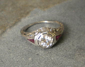 18K White Gold Filigree Antique Diamond and Synthetic Ruby Ring