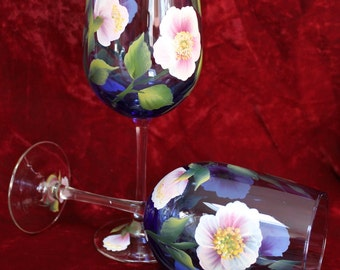 Hand Painted Wine Glasses (Set of 2) - Wild Rose on Cobalt Blue glass