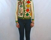 Groovy Floral and Geometric Patterned Boldly Colored Blouse