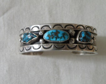 Mid Century Sandcast Native American Sterling Silver Turquoise Cuff - 6 inch