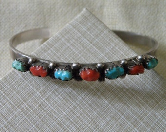 Vintage Native American Navajo Sterling Silver Coral and Turquoise Cuff