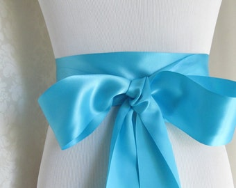 Turquoise Satin Ribbon Sash / Ribbon Sash / Satin Bridal Sash /  bridesmaid Sash /