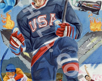 Team USA Vancouver 2010 Olympics Hockey Figure Skating SpeedSkating Skiing Bobsled Art Print of Original Illustration