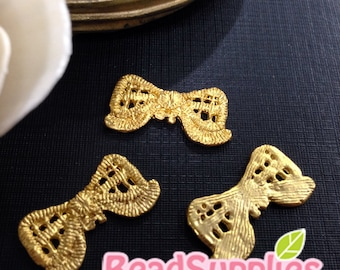 CH-ME-02268- Gold plated, Lace bow, 4 pcs