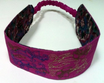 Boho Headband, Bright Pink Embroidered Reversible Headband, Recycled Paraglider Headband, Soft Wide Comfort Headband, Floral Headgear