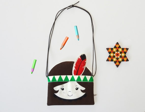 Native American Indian Scandinavian Retro Rag coin purse bag feather children geo triangle
