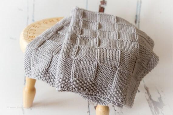 Knit Blanket Pattern Size 50 Needles : Knitting Pattern/DIY Instructions Chunky Checks Baby Blanket