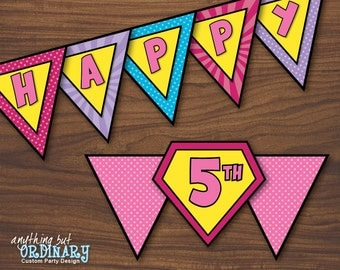 Girls Superhero Birthday DIY Banner, INSTANT DOWNLOAD, printable digital file