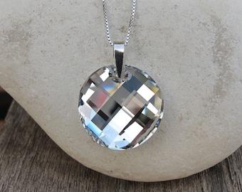 Swarovski Crystal Necklace- White Topaz Necklace- White Quartz Necklace- Sterling Silver Necklace- Stone Necklace- Gemstone Necklace