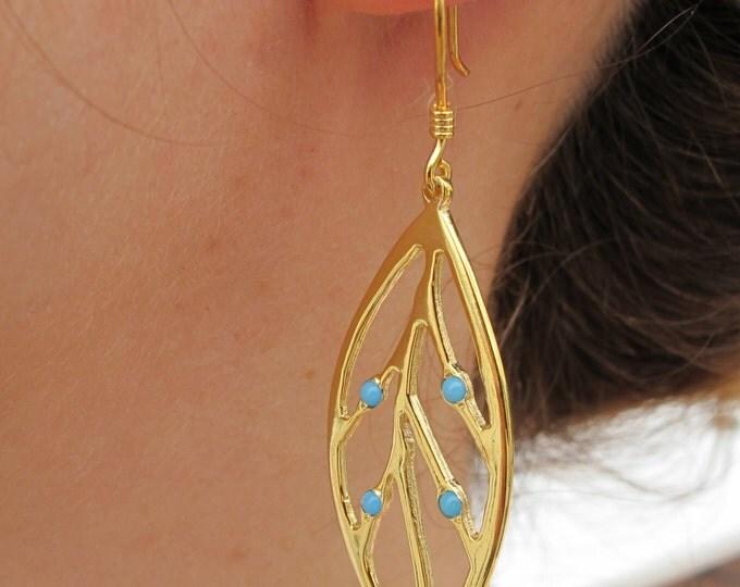 Leaf Turquoise Dangle Earring- Turquoise Statement Earring- Branch Vine Earring- December Birthstone Earring- Unique Artisan Drop Earring