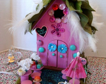 """Enchanting ...""""It's a Baby Shower"""" Fairy House..And All The Goodies!...LITE..OOAK"""