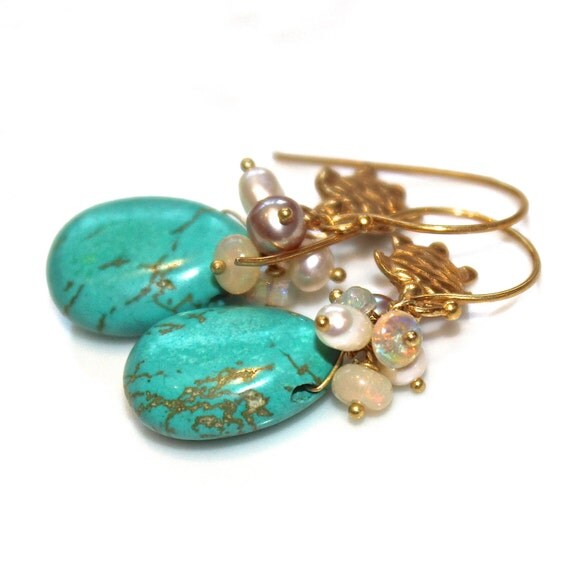Reserved for KP Only Payment #2 - Sleeping Beauty Turquoise Earrings Turquoise Jewelry Turtle Earring Beach Jewelry Turtle Jewelry