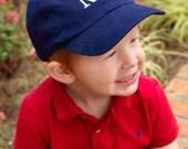 Navy Monogrammed kids Baseball Cap